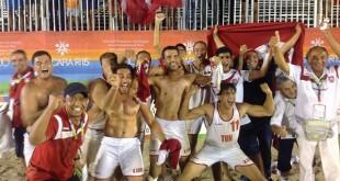 كرة اليد الشاطئية : المنتخب التونسي يتوج بذهبية الألعاب المتوسطية 